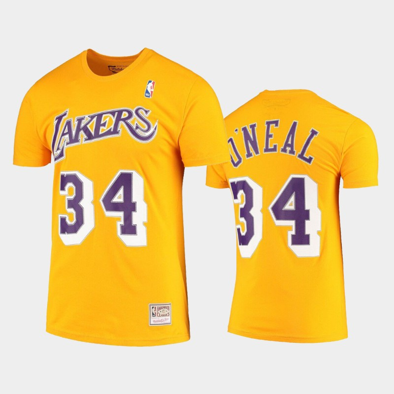 Los Angeles Lakers #34 Shaquille O'Neal Hardwood Classics Gold Stitch T-Shirt