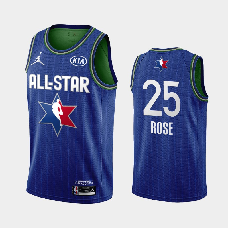 Men's Detroit Pistons 2020 NBA All-Star Game Derrick Rose Finished Jersey - Blue