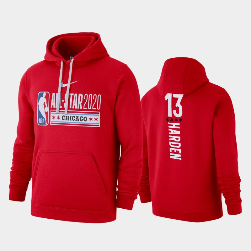 Men's Houston Rockets 2020 NBA All-Star Game James Harden Club Fleece Pullover Hoodie - Red
