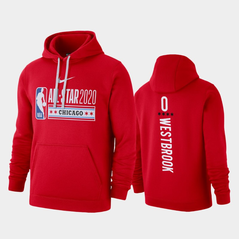 Men's Houston Rockets 2020 NBA All-Star Game Russell Westbrook Club Fleece Pullover Hoodie - Red