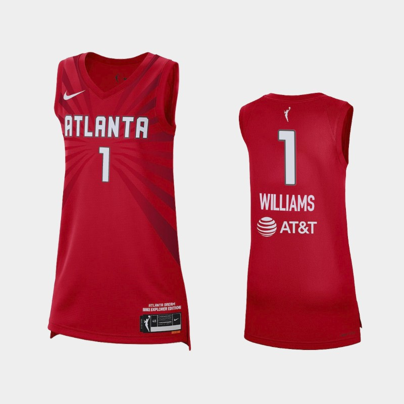 Atlanta Dream Elizabeth Williams 2021 Explorer Edition Jersey - Red