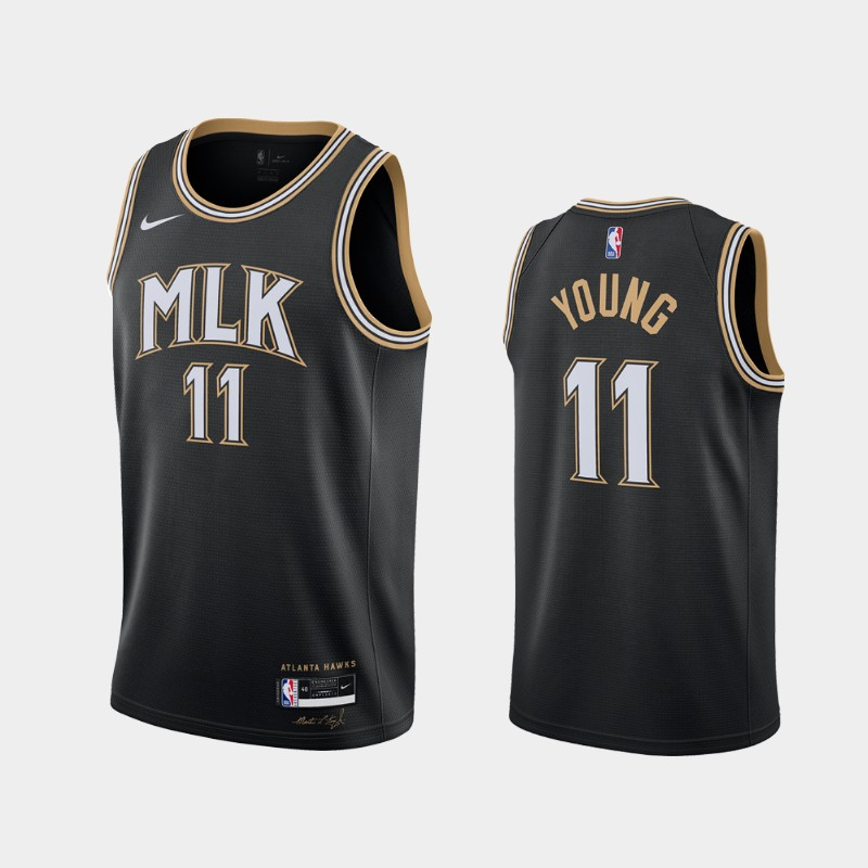 Atlanta Hawks Trae Young 2020-21 MLK City Jersey - Black