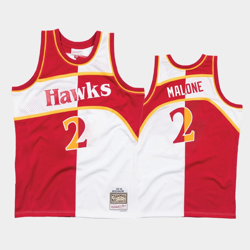 Hawks Moses Malone Split Jersey Hardwood Classics White Red