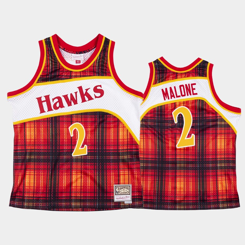 Atlanta Hawks Moses Malone Private School Red Hardwood Classics Jersey