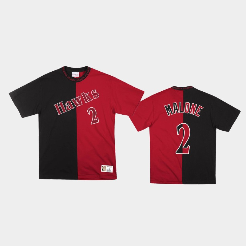 Moses Malone Atlanta Hawks Black Red Split Color Two-Tone T-Shirt
