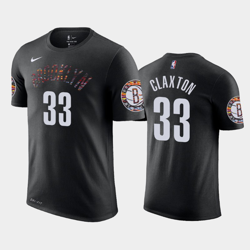 Nicolas Claxton Brooklyn Nets Black City Name & Number T-Shirt