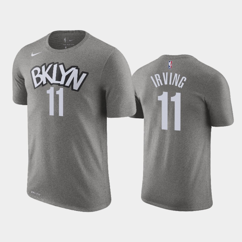 Kyrie Irving Brooklyn Nets Gray Statement Name & Number T-Shirt