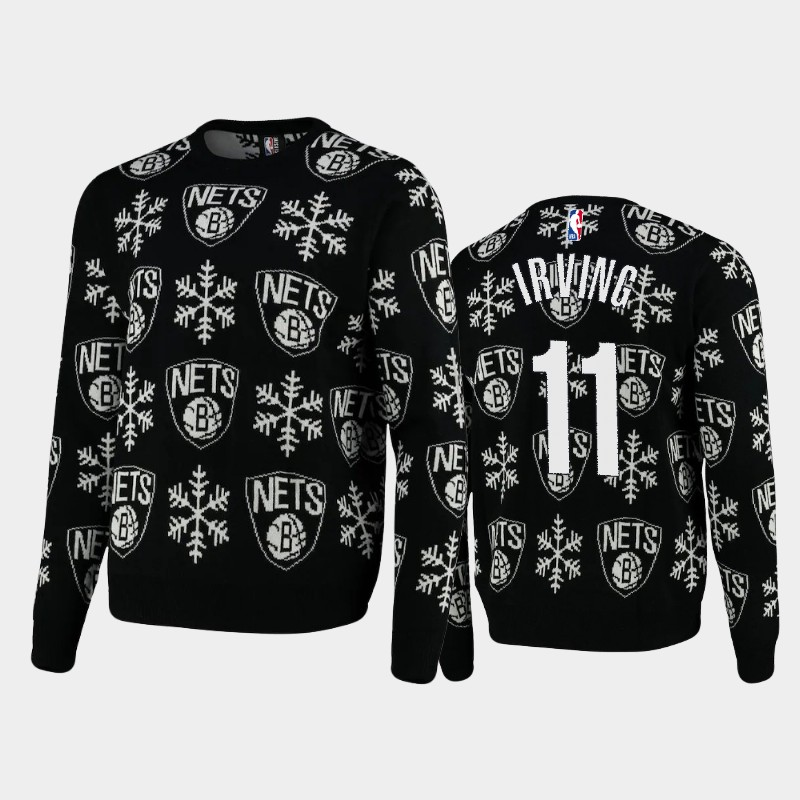 Brooklyn Nets Kyrie Irving 2020 Christmas Snowflake Sweater - Black