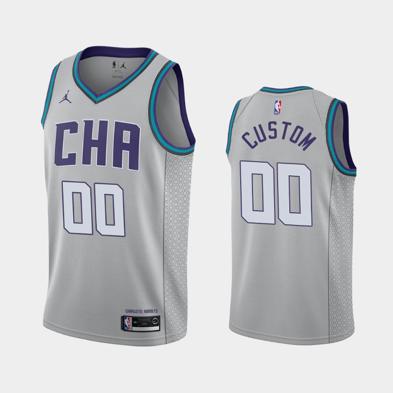 Charlotte Hornets Custom 2019-20 City Finished Jersey - Gray