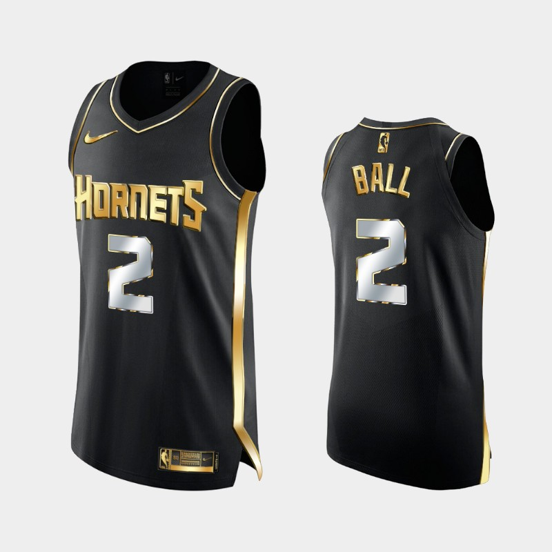 Limited Authentic Charlotte Hornets LaMelo Ball Golden Edition Jersey - Black