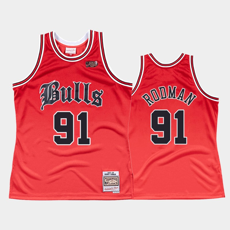 Bulls Dennis Rodman 1997-98 Old English Jersey Faded Red
