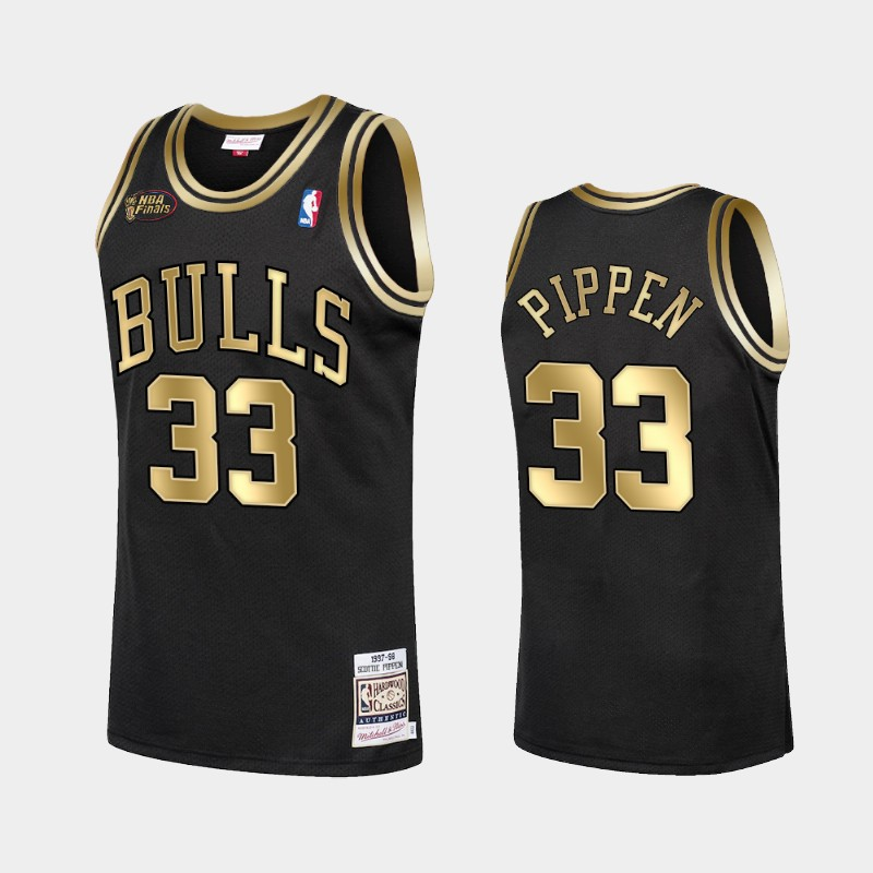 Bulls Scottie Pippen 1998 Finals Champs Jersey Golden Limited Black