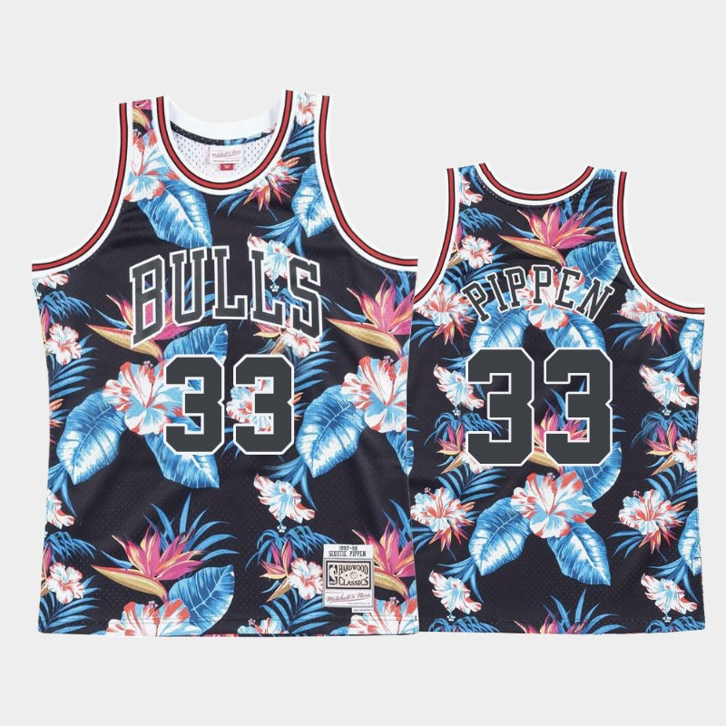 Scottie Pippen Chicago Bulls Floral Fashion Summer Vibe Jersey Black