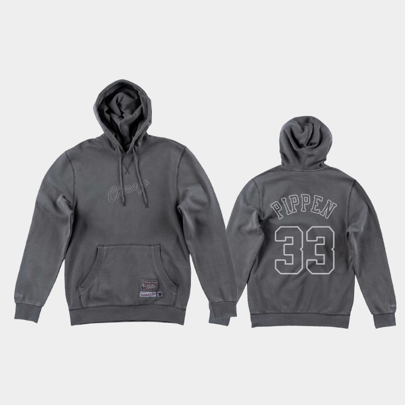 Bulls Scottie Pippen Dip-Dye Iconic Gray Washed Out Hoodie