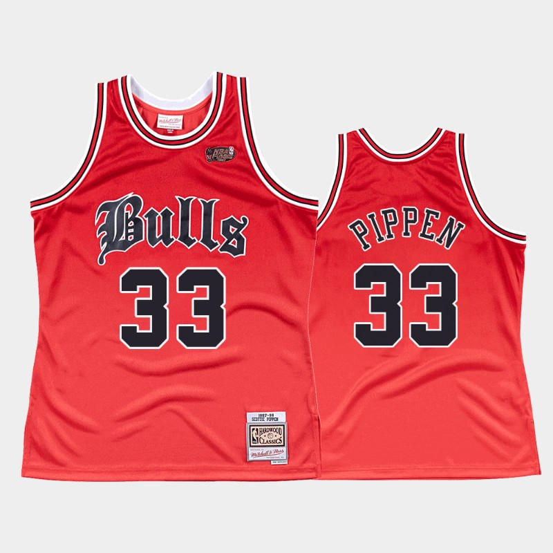 Bulls Scottie Pippen 1997-98 Old English Jersey Faded Red