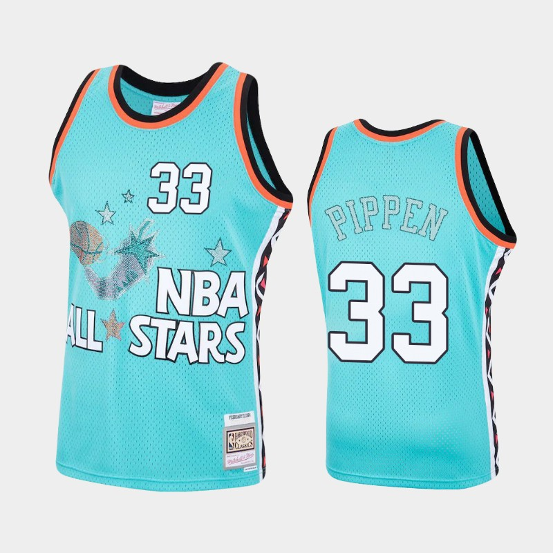 Bulls Scottie Pippen 1996 All-Star Jersey Rhinestone Teal