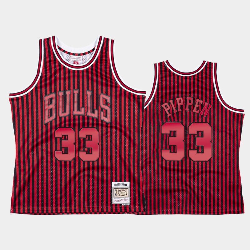 Scottie Pippen Chicago Bulls Striped HWC Jersey
