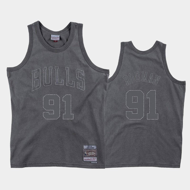 Chicago Bulls Dennis Rodman Dip-Dye Gray Jersey - Washed Out