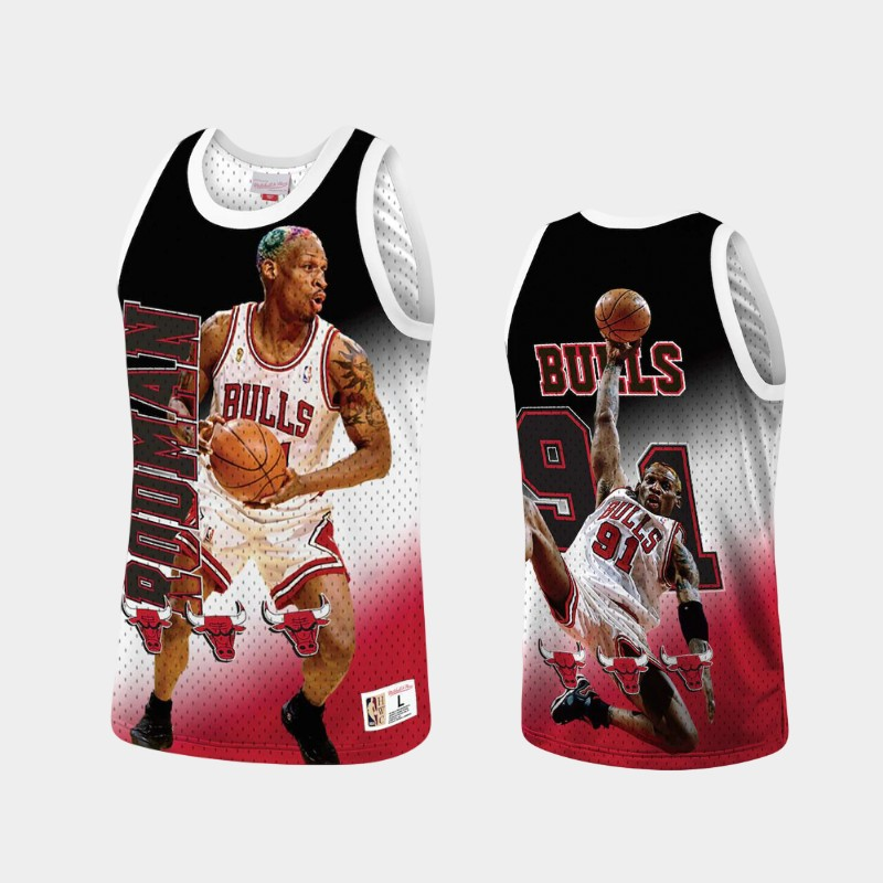 Chicago Bulls Dennis Rodman Behind the Back Red Throwback Tank Top