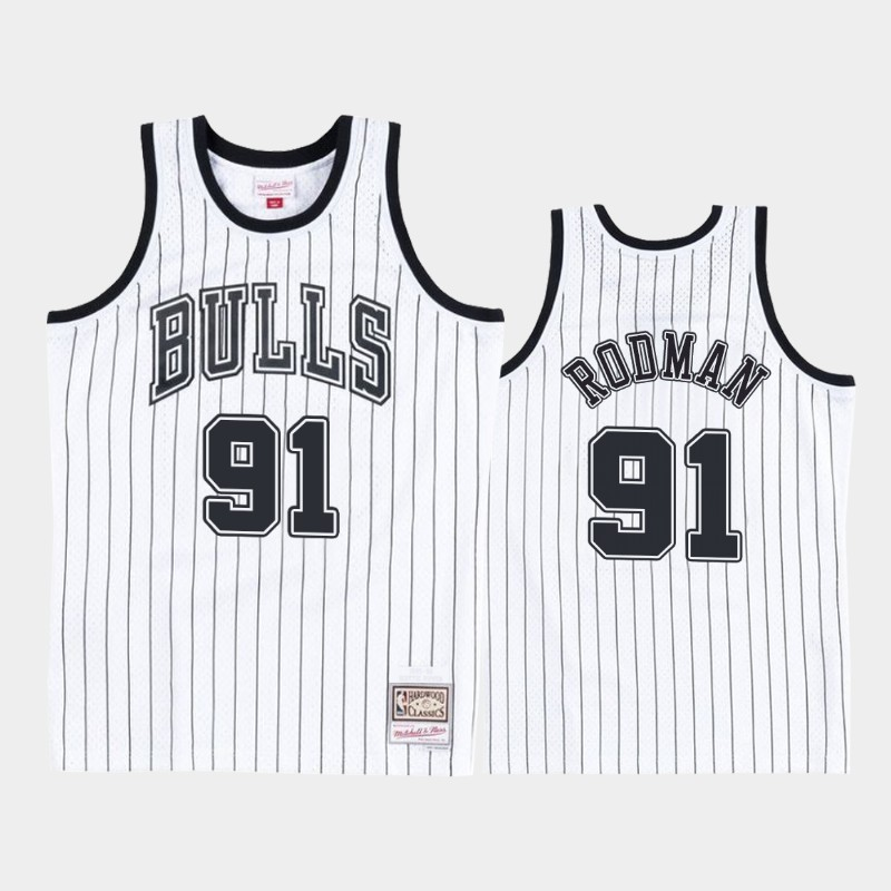 Chicago Bulls Dennis Rodman Concord Collection White Black Hardwood Classics Jersey