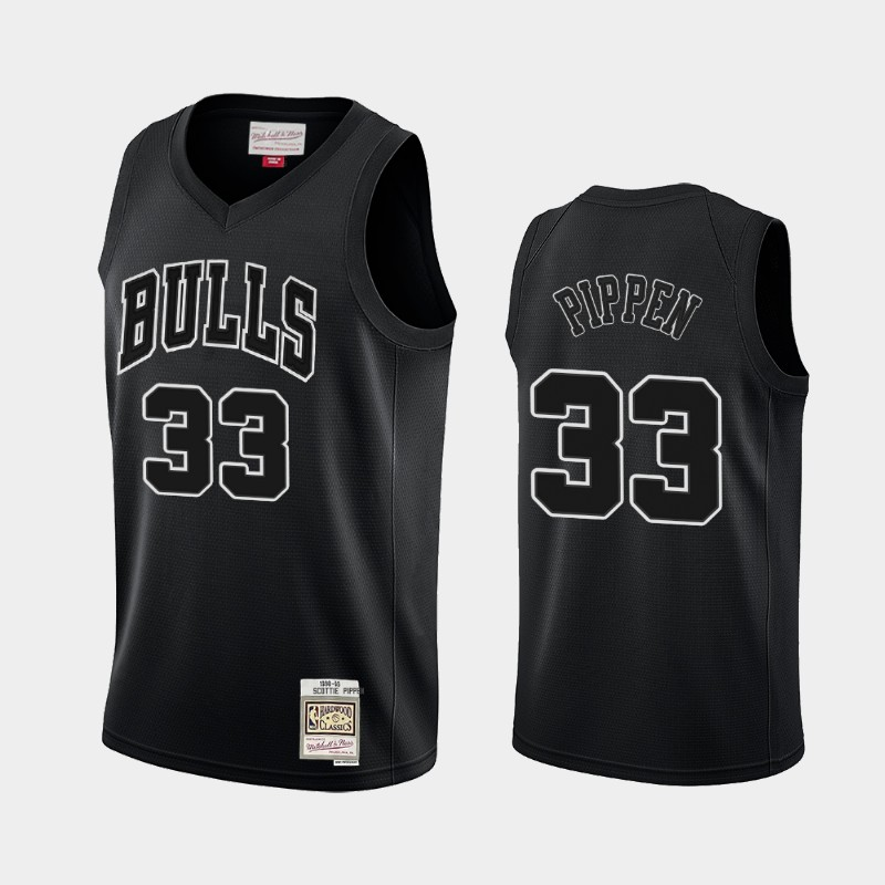 Chicago Bulls Scottie Pippen Hardwood Classics Black White Logo Throwback Jersey