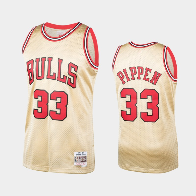 Chicago Bulls Scottie Pippen Hardwood Classics Gold Jersey 1997-98
