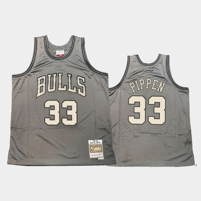 Chicago Bulls Scottie Pippen Hardwood Classics Gray Metal Works Throwback Jersey