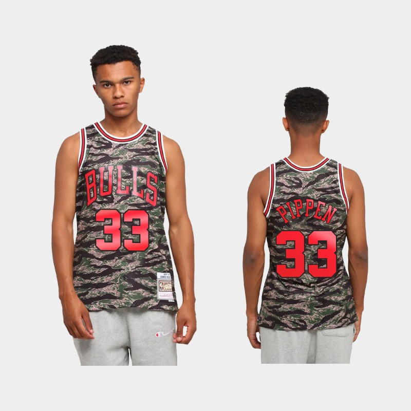 Chicago Bulls Scottie Pippen Tiger Camo Green Hardwood Classics Jersey