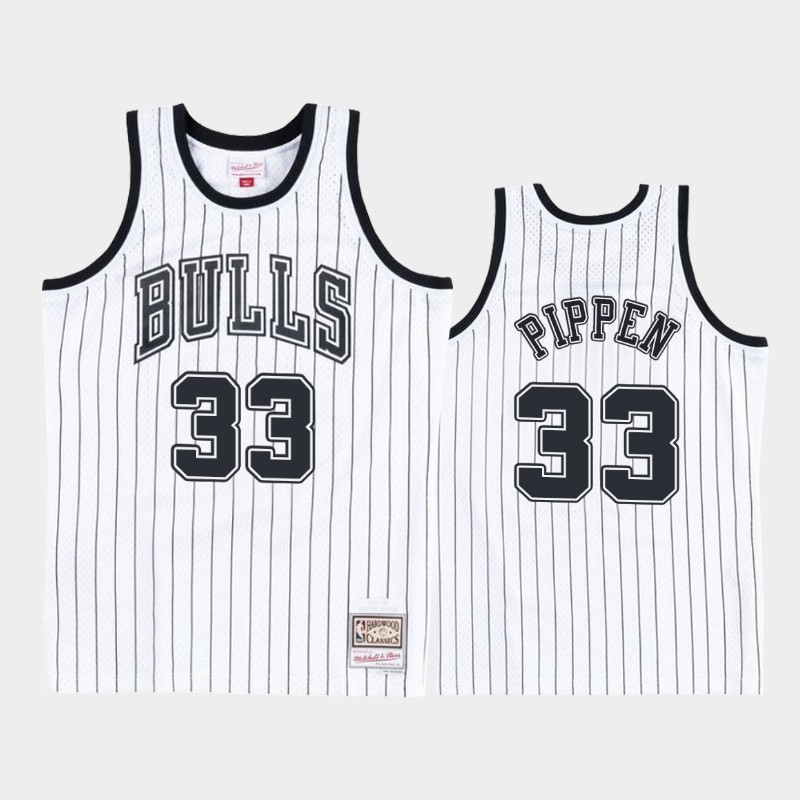Chicago Bulls Scottie Pippen Concord Collection White Black Hardwood Classics Jersey