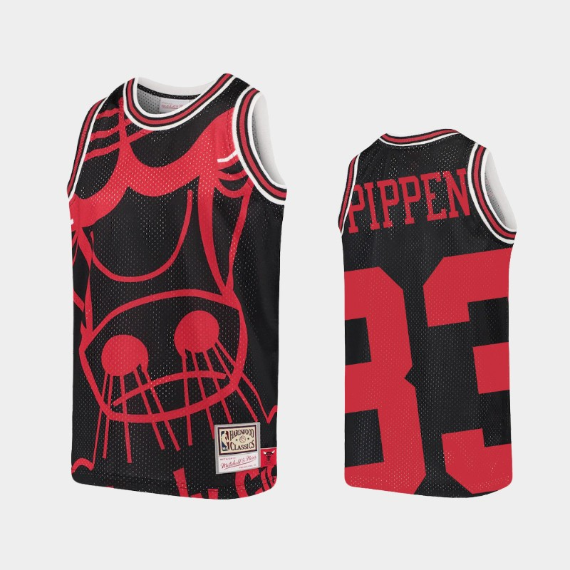 Youth Bulls Scottie Pippen Big Face Black Hardwood Classics Jersey