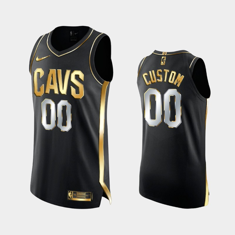 Limited Cleveland Cavaliers Custom Golden Authentic Jersey - Black