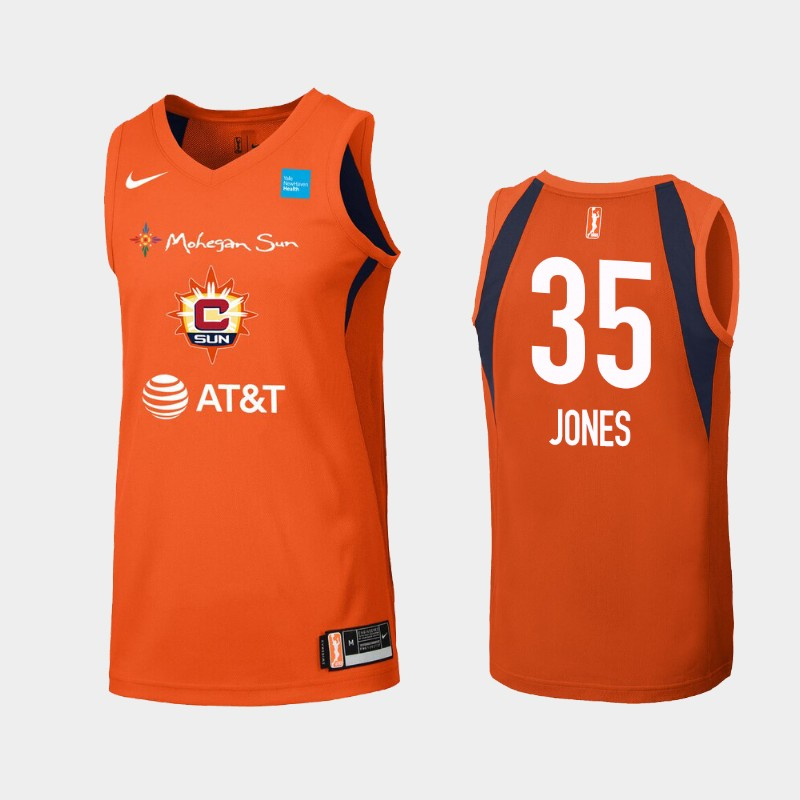 WNBA Connecticut Sun Jonquel Jones Orange Primary Icon Jersey