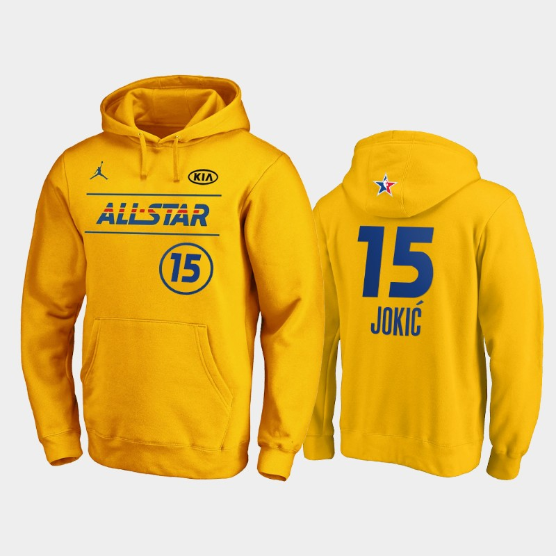 Denver Nuggets Nikola Jokic 2021 NBA All-Star Yellow Western Hoodie