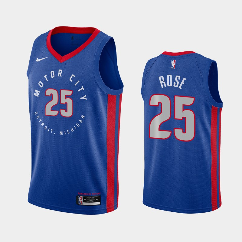 Detroit Pistons Derrick Rose 2020-21 City Jersey - Blue