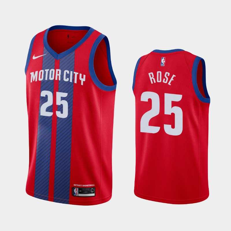 Detroit Pistons Derrick Rose 2019-20 City Jersey - Red