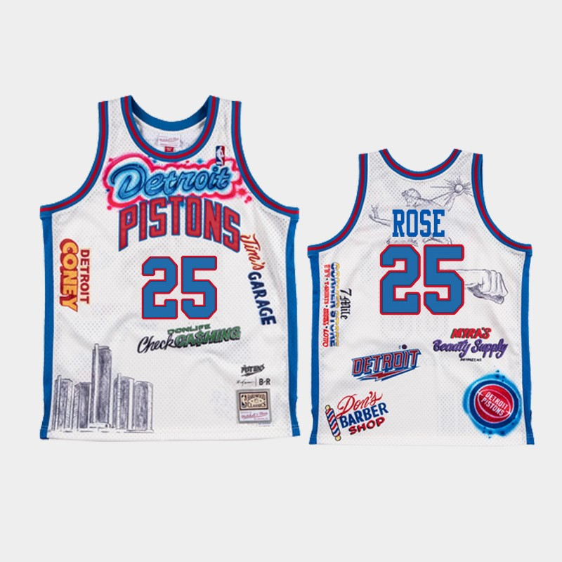 Derrick Rose Detroit Pistons NBA Remix White Big Sean Jersey