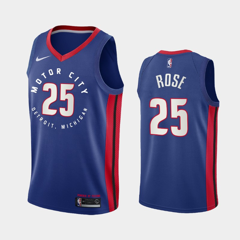 Detroit Pistons Derrick Rose 2020-21 Motor City Edition Jersey - Navy