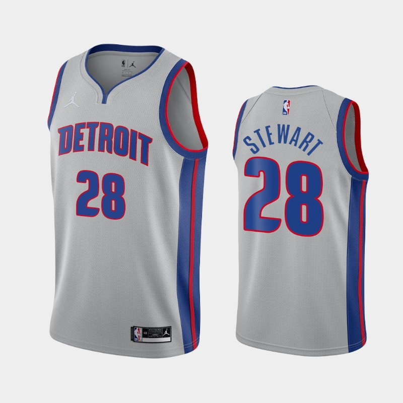 Detroit Pistons Isaiah Stewart Statement 2020 NBA Draft First Round Pick Jersey - Gray