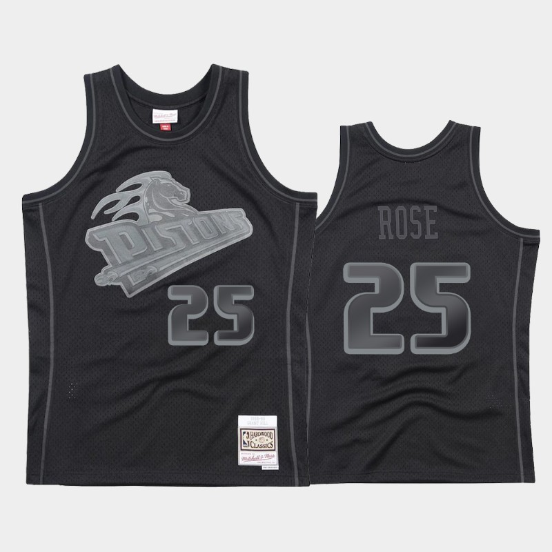 NBA Detroit Pistons Derrick Rose 1998-99 Throwback Tonal Hardwood Classics Jersey Black