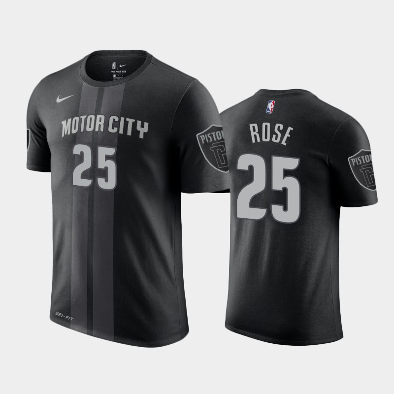 Derrick Rose Detroit Pistons Black City T-Shirt