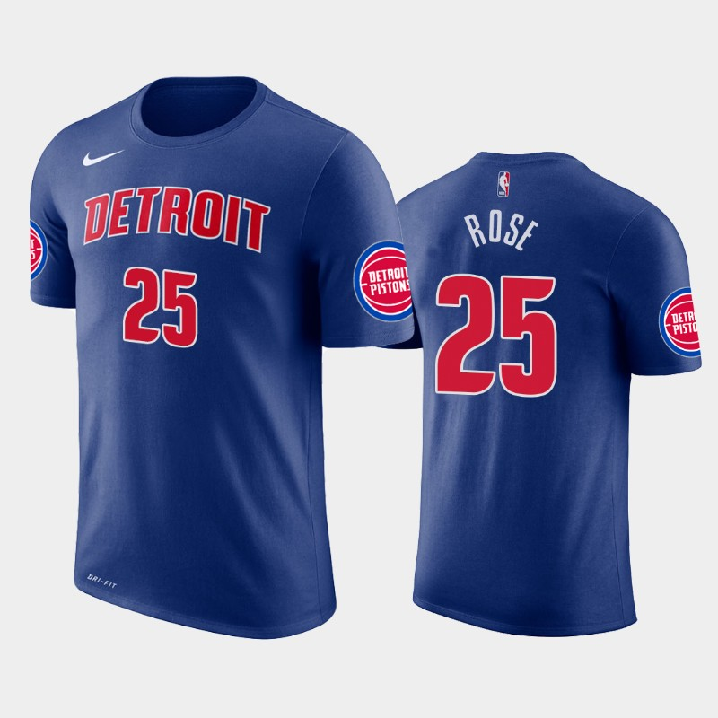 Derrick Rose Detroit Pistons Blue Icon T-Shirt