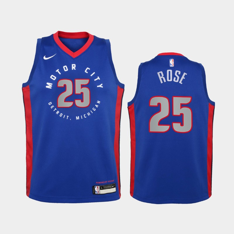 Youth 2020-21 Pistons Derrick Rose City Blue New Uniform Jersey