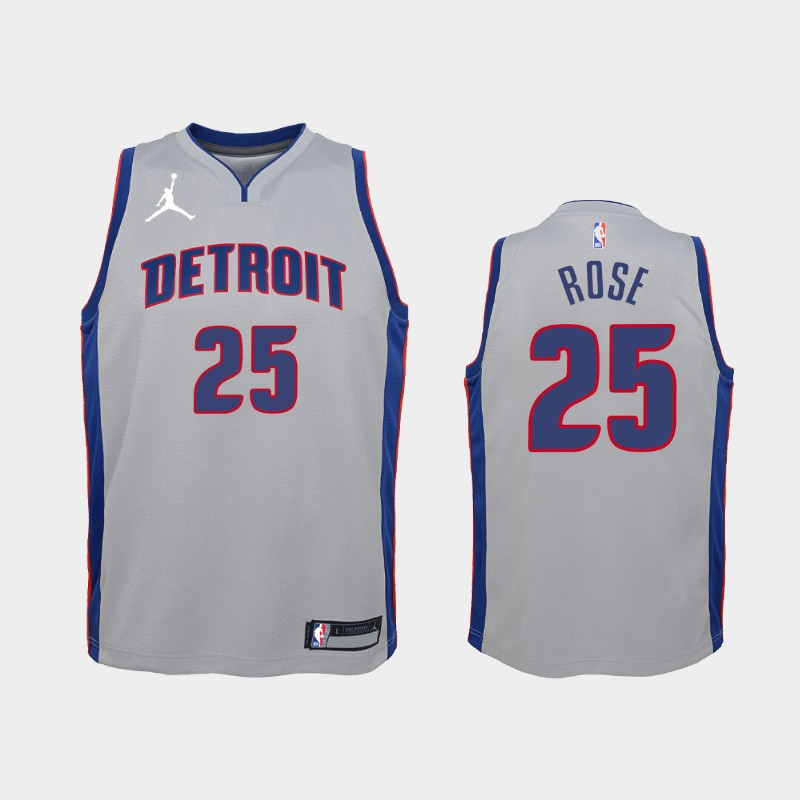 Youth 2020-21 Pistons Derrick Rose Statement Silver Jordan Brand Jersey