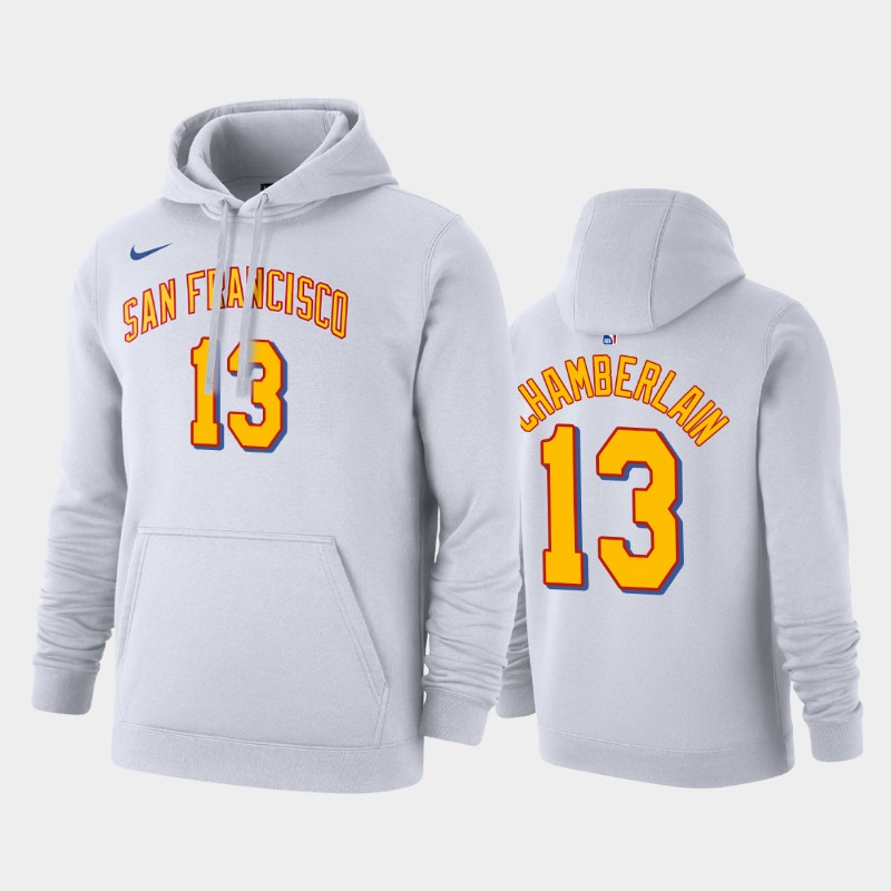 Golden State Warriors Wilt Chamberlain Hardwood Classics Pullover Name & Number Hoodie - White