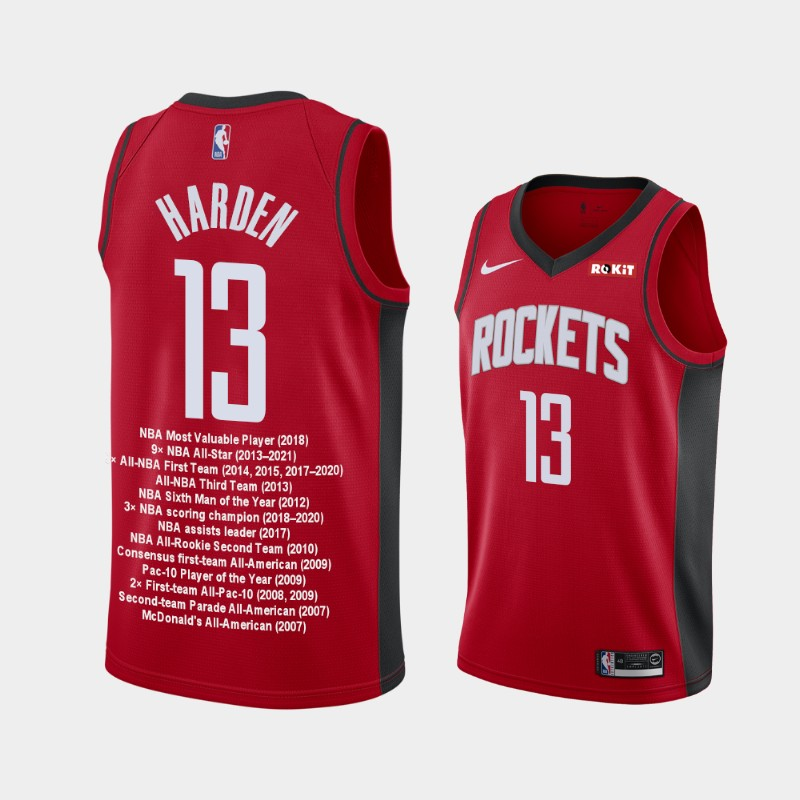 Houston Rockets James Harden Career Awards Special Edition Jersey - Red