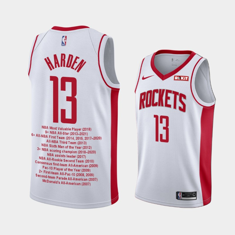 Houston Rockets James Harden Career Awards Limited Edition Jersey - White