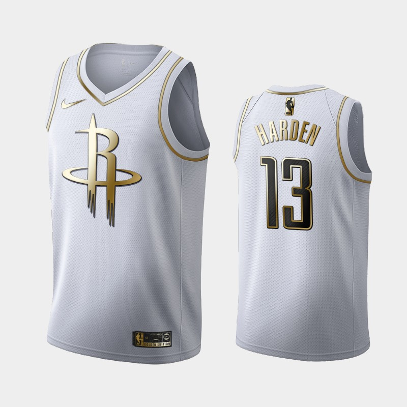 Rockets James Harden White Golden Logo Jersey