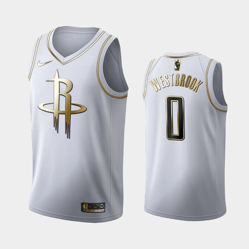 Rockets Russell Westbrook White Golden Logo Jersey