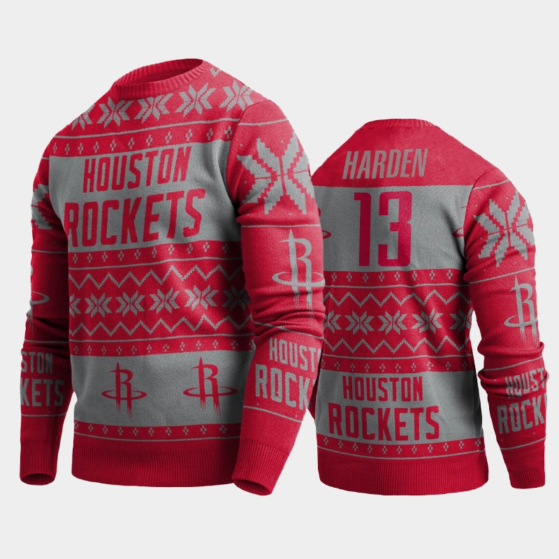 James Harden Houston Rockets Red 2019 Ugly Christmas Pullover Sweater