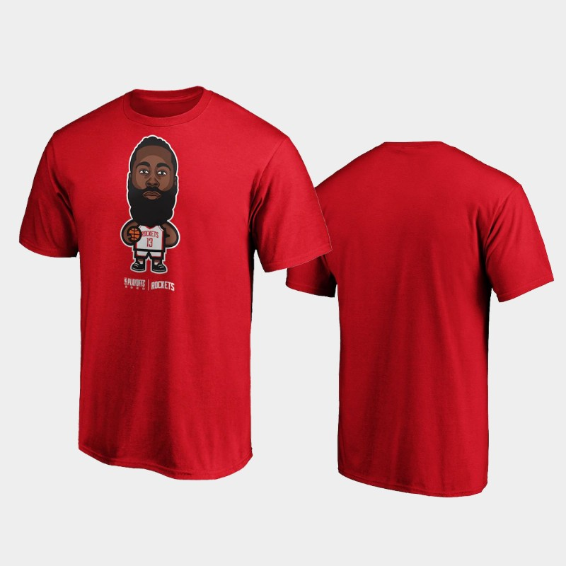 James Harden Houston Rockets Red 2020 NBA Playoffs Bound Star Name & Number T-Shirt